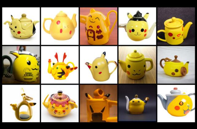 Computergenerierte Bilder von Teekannen in der Form von Pikachu